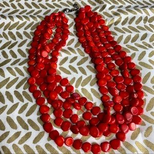 Lucas Lameth LUC 925 Sterling Red Coral Necklace